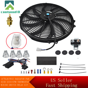 "BLACK 16"" ELECTRIC RADIATOR FAN HIGH 3000CFM THERMOSTAT WIRING SWITCH RELAY KIT"
