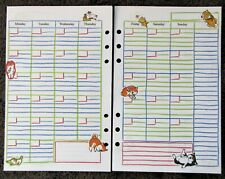MONTHLY Undated Refill for A5 6-Ring Planner Organizer Insert Dog/Cat