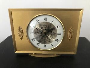 Vintage German BENTIMA Clock Brass gold Metal Colour Original Motor WORKING
