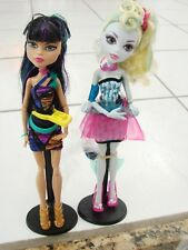 Monster High Doll lot of 2 Cleo de Nile and Lagoona Blue with stands