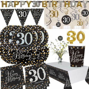 AGE 30 - Happy 30th Birthday BLACK GOLD Sparkles Party Range Decorations Banners