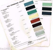 1953 STUDEBAKER Color Chip Paint Sample Brochure/Chart: Du Pont DuPont