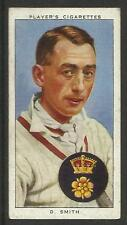 PLAYER'S 1938 CRICKETERS D. Smith Card No 25 of 50 CRICKET CIGARETTE CARDS