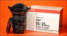 16-35mm Canon EF II F2.8 L USM WIDE ANGLE ZOOM LENS con entrambi i tappi & Cappuccio, Scatola