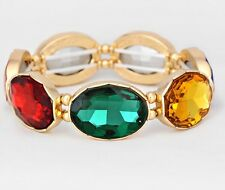Multi Color Aqua Red Peach Emerald Gold Crystal Rhinestone Pageant Bracelet