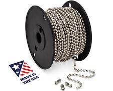 #10 Beaded Ball Chain 100FT Spool & #10 B Couplings, Nickel Plated Steel 100PK