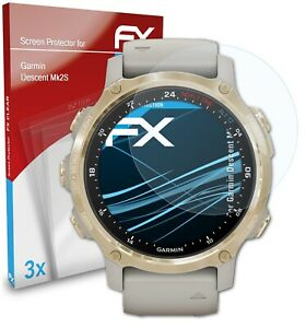 atFoliX 3x Screen Protection Film for Garmin Descent Mk2S Screen Protector clear