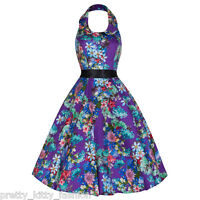 PRETTY KITTY ROCKABILLY 50s PURPLE MULTI FLORAL SWING COCKTAIL PROM DRESS 8-18