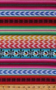 Cotton Southwestern Stripes Turtles Tucson 558 Striped Fabric Print BTY D763.66