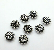 10 PCS 10X5MM BALI SPACER BEAD OXIDIZED STERLING SILVER PLATED 131 T31-C6