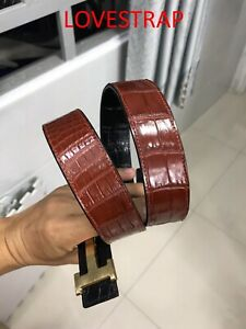 DOUBLE SIDE BLACK/BROWN GENUINE ALLIGATOR,CROCODILE S BALLY LEATHER SKIN BELT