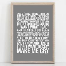 More details for pearl jam yellow ledbetter song lyrics poster print wall art