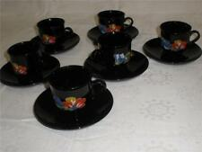 LUXURIOUS BLACK PORCELAIN COFFEE SET FOR 6 ARCOROC FRANCE NEW