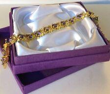 "GB Purple amethysts + sim diamond 18ct gold filled bracelet 7.25"" BOXED Plum UK"