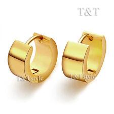 TRENDY T&T Plain 14K GP Gold Stainless Steel THICK Hoop Earrings EH01J(7x9)