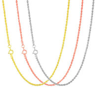 """14K Rose, White or Yellow Gold Womens 1.5mm Rope Chain Pendant Necklace 14""""- 26"""""""