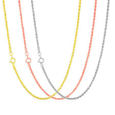 "14K Rose, White or Yellow Gold Womens 1.5mm Rope Chain Pendant Necklace 14""- 26"""