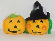Pumpkins Stuffed Plush Witch Toy or Decoration TWO Jack o Lanterns Halloween