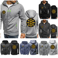 Boston Bruins Fans Hoodie Ice Hockey Sweatshirt Full-zip Sporty Jacket Coat Gift