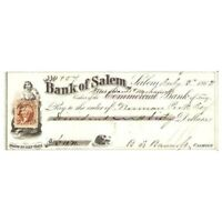 1863 CIVIL WAR ERA BANK OF SALEM $60 CHECK W/AFFIXED REVENUE!-d1092ttt