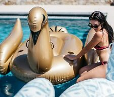 Mimosa Inc Gold Swan Inflatable Premium Quality Giant Size Pool Toy Float Raft
