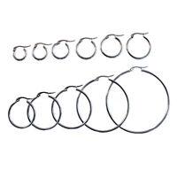 Pair 316 Stainless Steel Hinged Hoop Sleeper Circle Earrings Gift 10mm-50mm UK