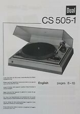 Dual CS 505-1 Hifi Turntable Record Player Operating Instruction - USER MANUAL