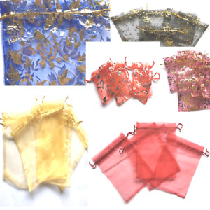 5-15 LUXURY ORGANZA WEDDING POUCH JEWELLERY ASSORTED SIZE COLOUR GIFT ORGANZABAG