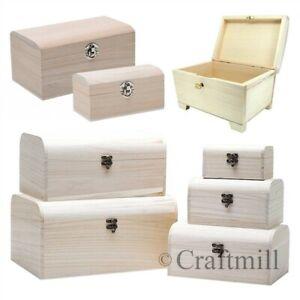 Plain Wooden TREASURE PIRATE CHEST, jewellery, storage, craft box, small large
