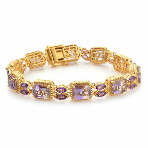 """925 Sterling Silver Yellow Gold Over Amethyst Bracelet Gift Size 7.5"""" Ct 24.1"""