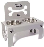 Large raised dog bowl feeder stainless steel bowls