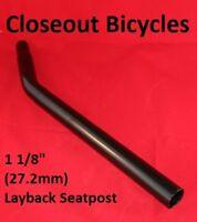 """Bike Lay-Back Bicycle Steel Seat Post 27.2mm / 1 1/8"""" Black Bike Laid Back"""