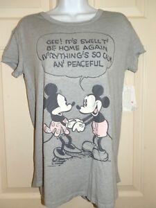 New Juniors Medium 7-8 Mickey Minnie Mouse Sleep T-Shirt pajama