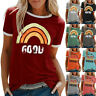 Women Girls T-Shirt O-neck Letters Print Short Sleeve Casual Tops Blouse Tee