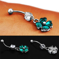 Retro Crystal Clover Navel  Sexy Belly Button Ring Body Piercing Jewelry WA