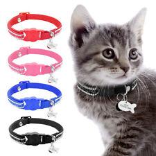 Adjustable Rhinestone Breakaway Nylon Cat Safety Collar with ID Tag for Kitten