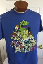Nicktoons Large Blue T Shirt Distressed Look New Nickelodeon 90's Characters