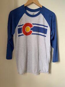 Colorado Flag Print Men's Baseball T-Shirt Size Medium Colorado Limited Brand