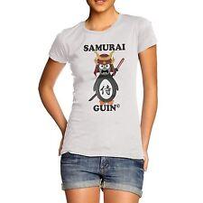 Women's Japanese Samurai Guin The Penguin Crewneck T-Shirt