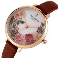 Romantic Rose Gold Stainless Steel Case Women's Quartz Watch Flower Pattern