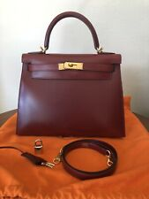 Authentic Hermes Kelly Sellier 28 Rouge H Box Calf Gold Hardware