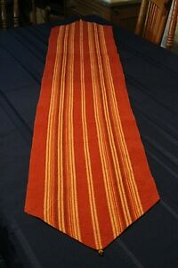 TAG HomeDecor Striped Cotton Table Runner 14 x 71 Brown Yellow Red Orange Cream