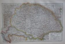 1893 LARGE ANTIQUE MAP ~ HUNGARY TRANSYLVANIA BUDAPESTH CARNIOLA BOSNIA