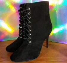 Victoria's Secret Supermodel Black Velvety Sexy Lace-Up Boots Shoes Size 9 EUC
