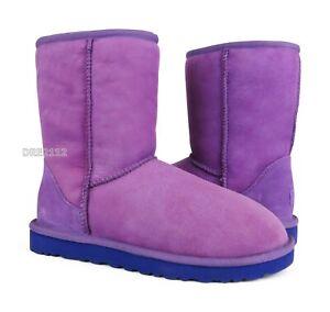 UGG Australia Classic Short Crazy Plum Suede Fur Boots Womens Size 7 *NIB*