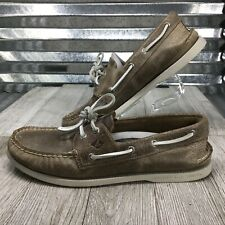 Sperry Top Sider Boat Two eye Comfort Leather Taupe Leather Men Shoe Size 10.5