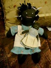 "2 Antique Folk Black Cloth Dolls - Mom + Child 14"" + 6'"" All Original-"