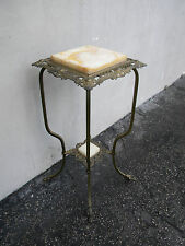 Brass Onyx Flower Statue Stand Pedestal Table 5845