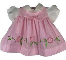 Vintage Baby Togs Creation Pink Floral Applique Dress