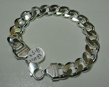 "Mens Bracelet Sterling Silver 925 Curb Link 13 MM 8.5"" 57 Grams Lobster Clasp"